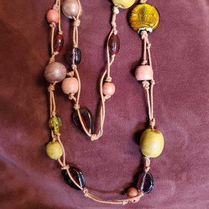 Long Wood and Dichroic Glass Bead Rope Necklace